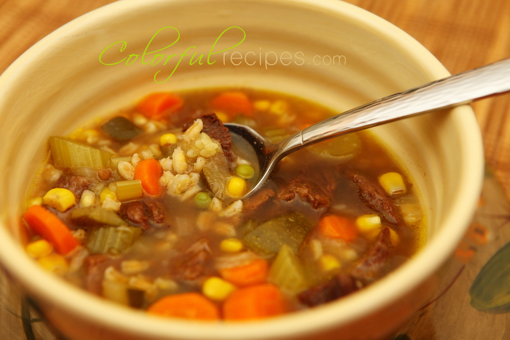 Vegetable Beef Barley Soup - Colorful Recipes