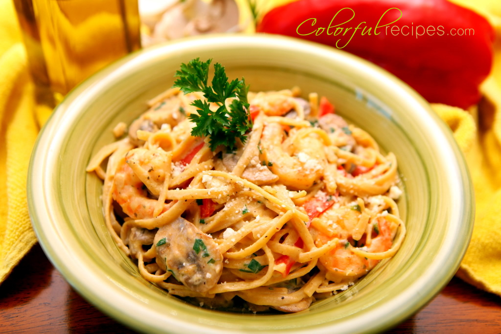 This Creamy Shrimp Linguine pasta dish has a healthier version of ...