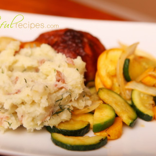Red Garlic Dill Mashed Potatoes
