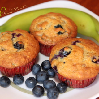 banana blueberry muffins colorfulrecipes.com