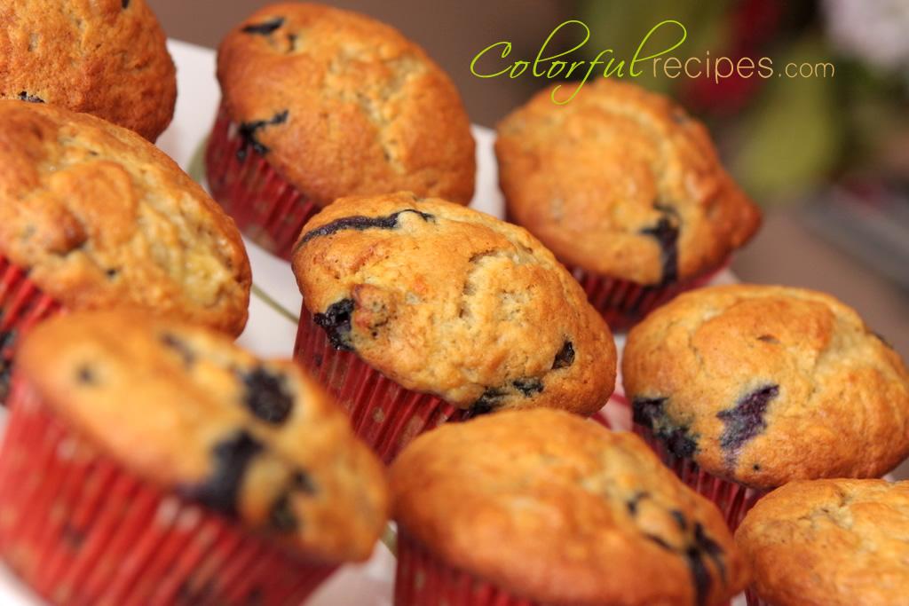 banana blueberry muffins colorfulrecipes.com