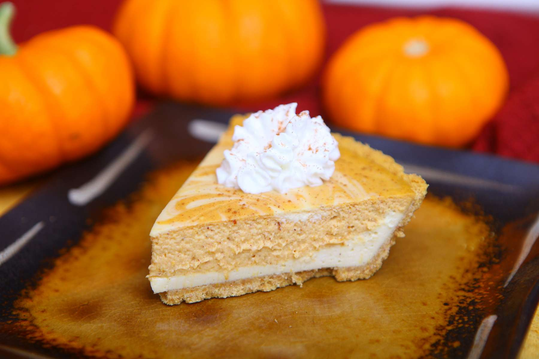 Cheesecake Pumpkin Swirl Pie - Colorful Recipes