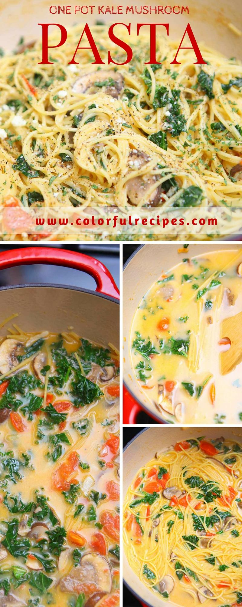 one pot kale mushroom pasta