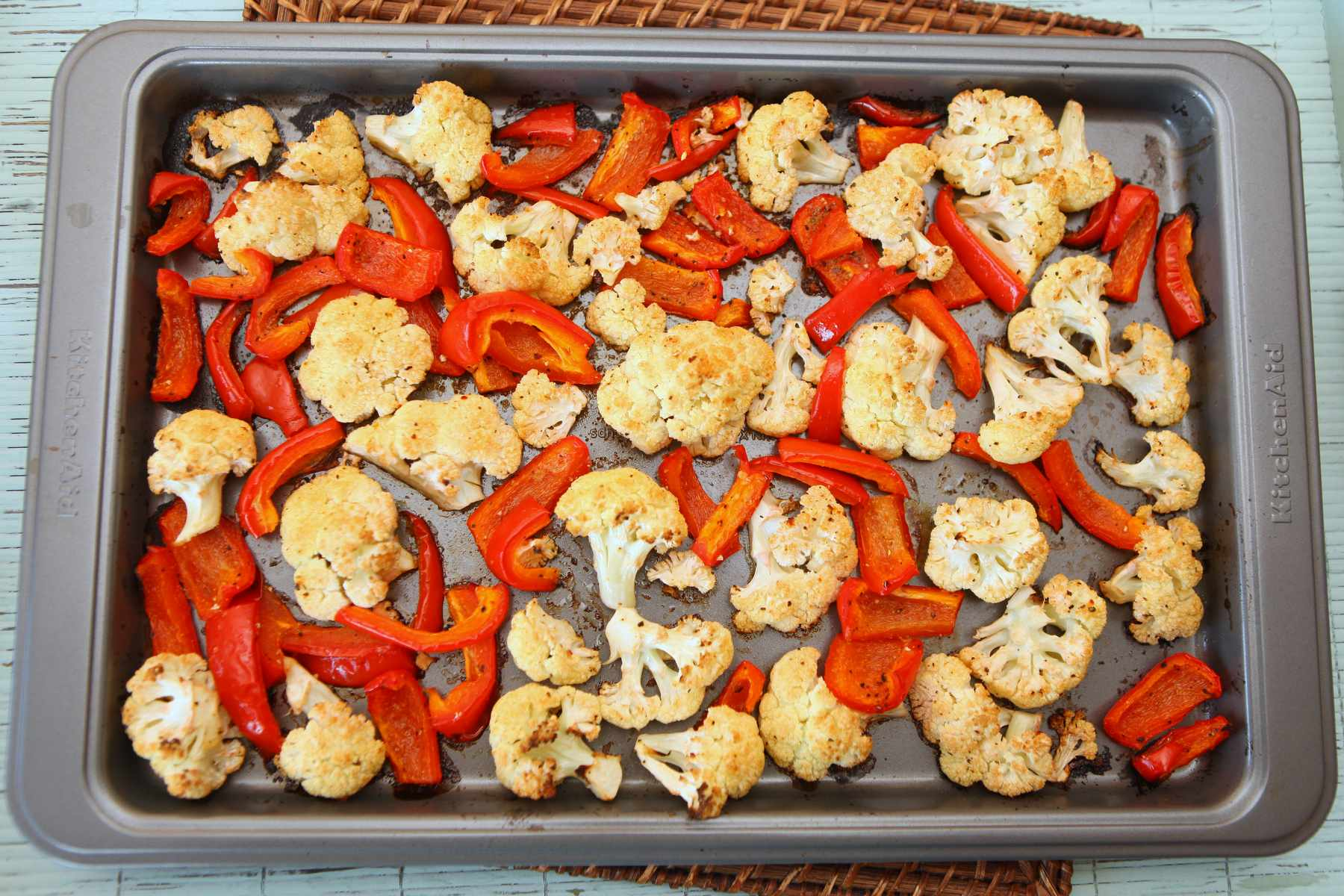 Roasted Cauliflower & Red Peppers - Colorful Recipes