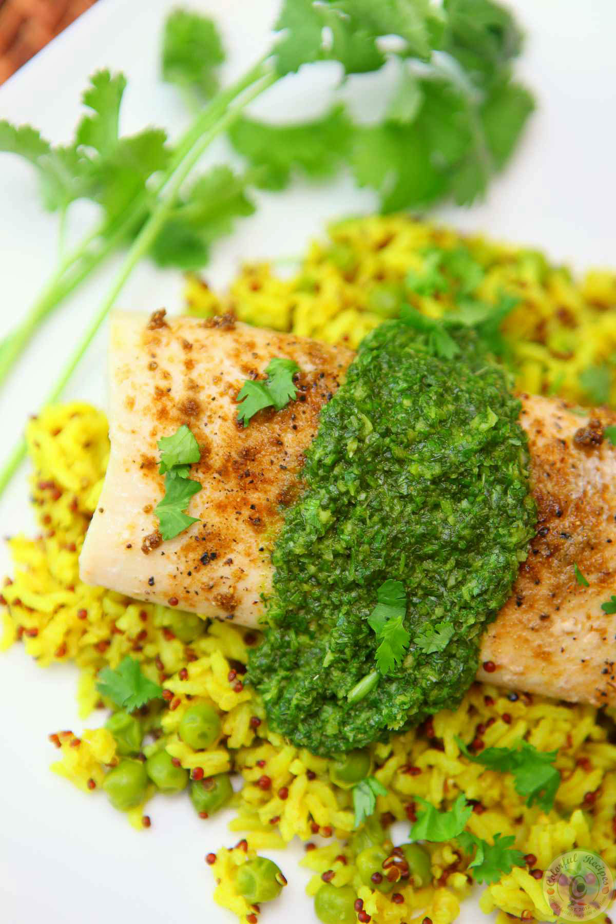 Mahi Mahi with Cilantro Chutney and Turmeric Rice