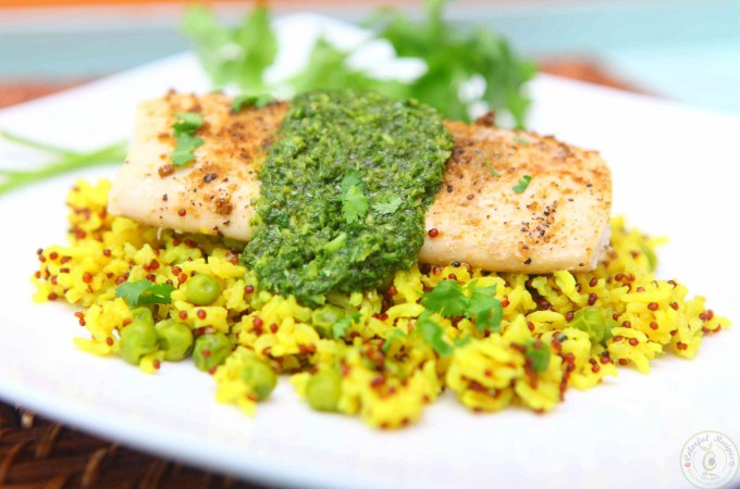 Mahi-Mahi with Cilantro Chutney and Turmeric Rice