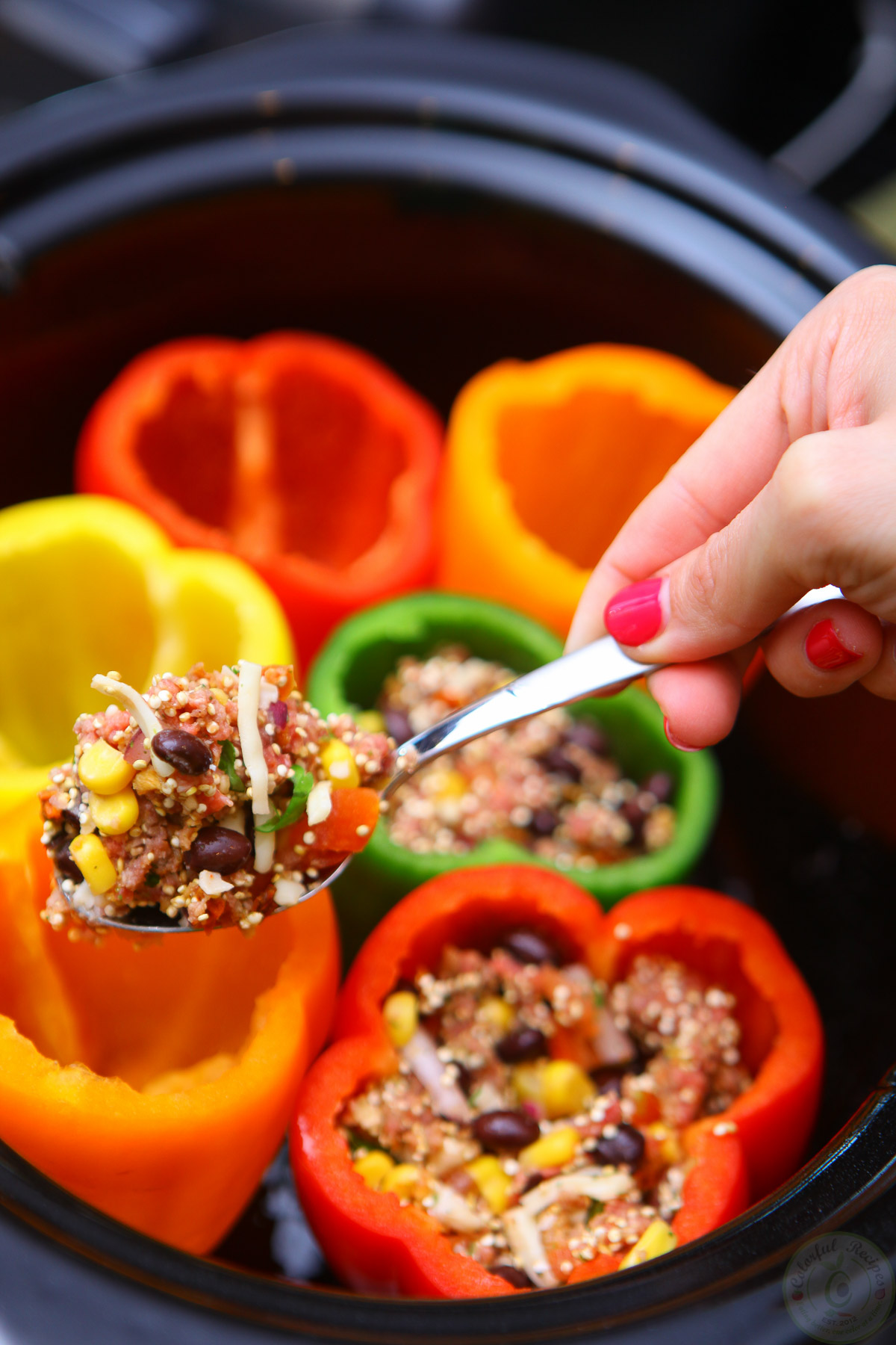cook once eat twice crockpot stuffed peppers and tacos. Black Bedroom Furniture Sets. Home Design Ideas