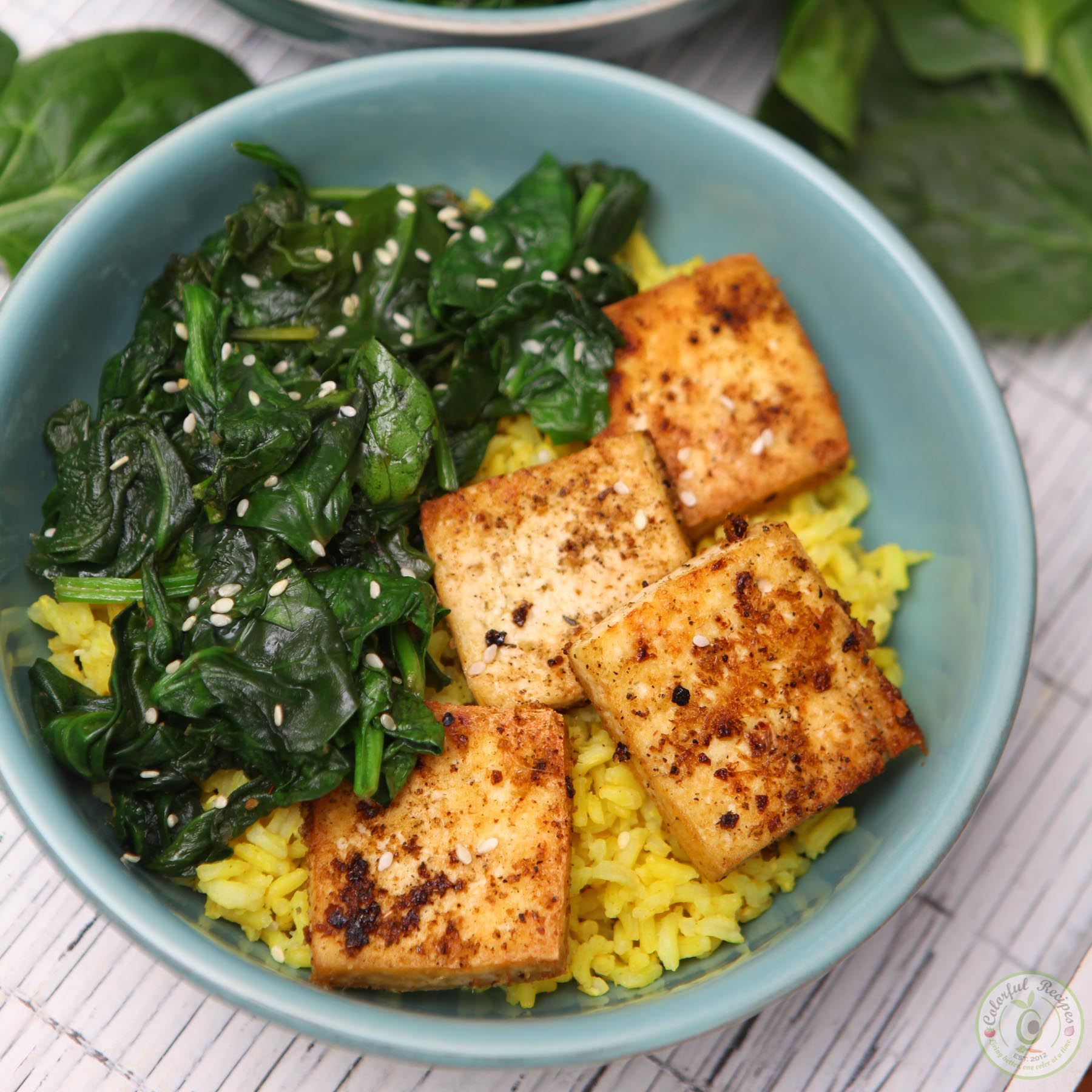 Simple Spinach Tofu With Rice