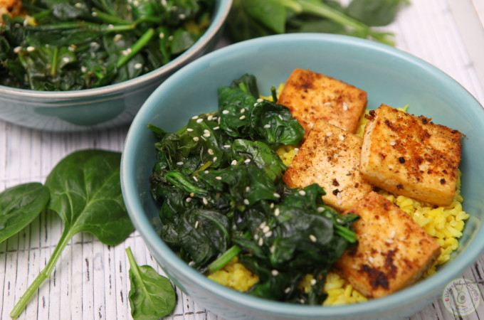 Simple Spinach Tofu With Turmeric Rice