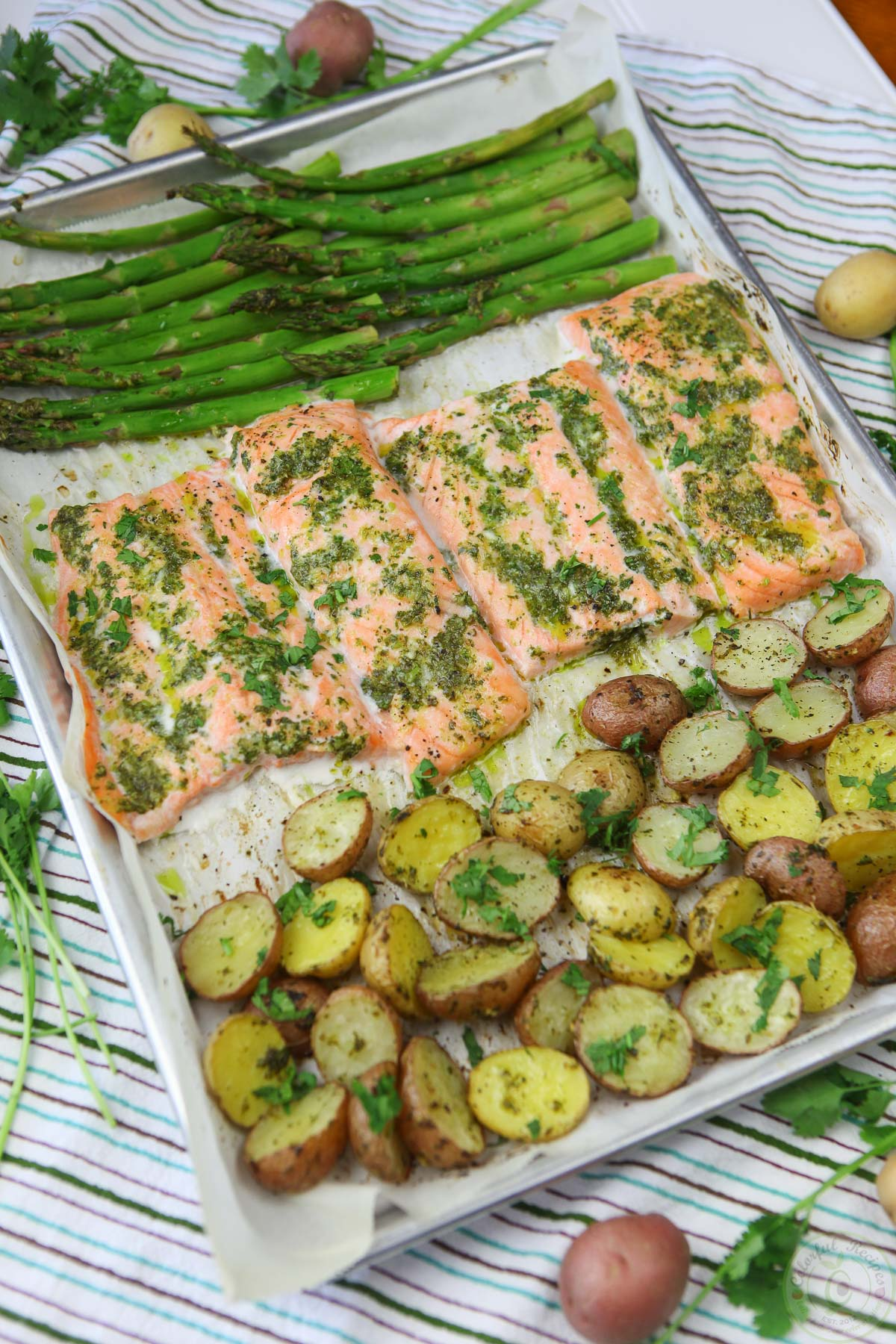 One Pan Salmon and Veggies with Cilantro Garlic Citrus Butter