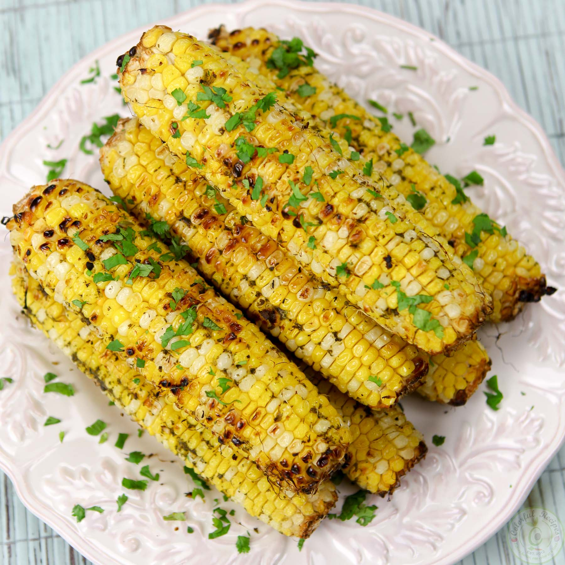 Cilantro Garlic Citrus Butter Grilled Corn On The Cob - Colorful ...