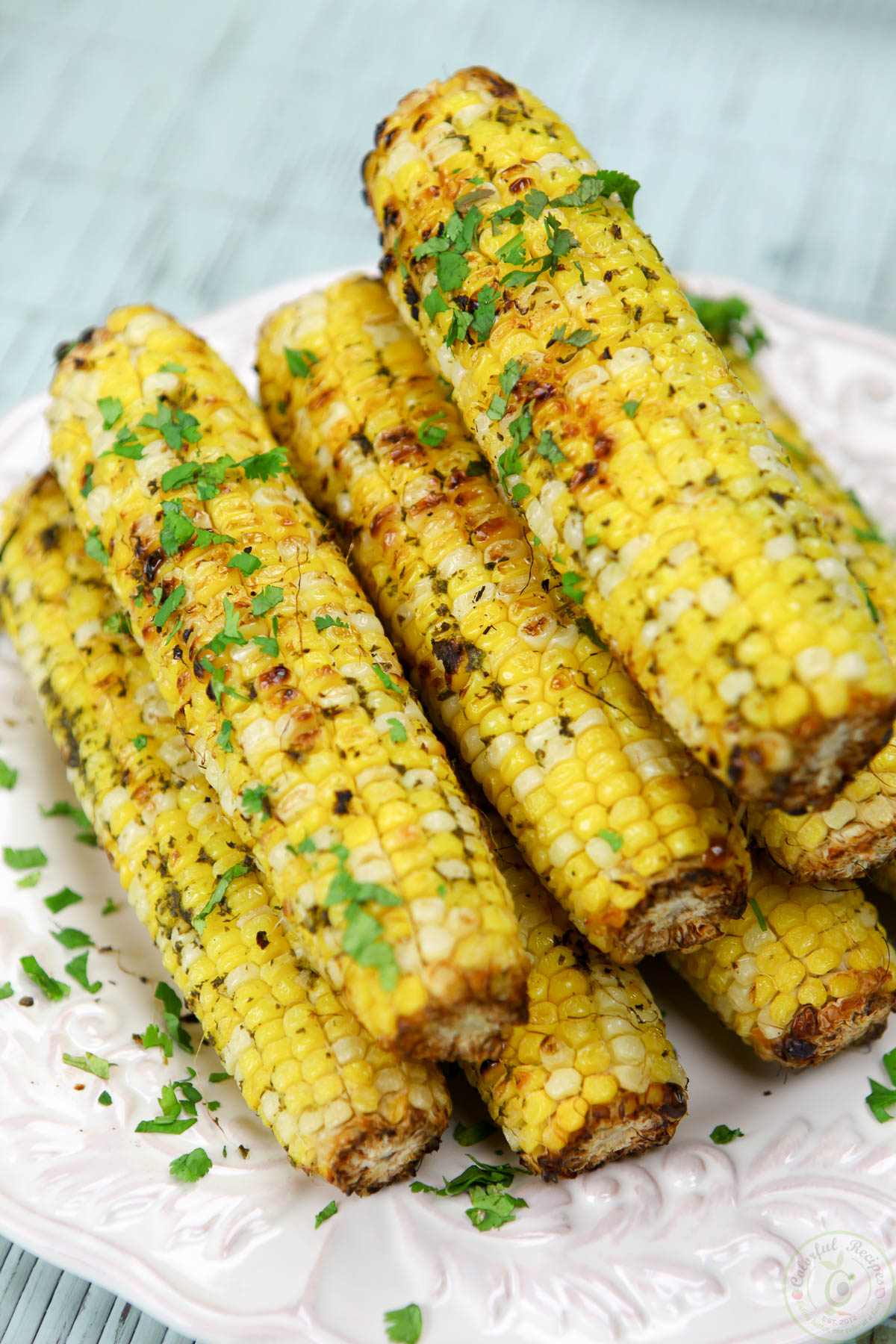 Cilantro Garlic Citrus Butter Grilled Corn On The Cob