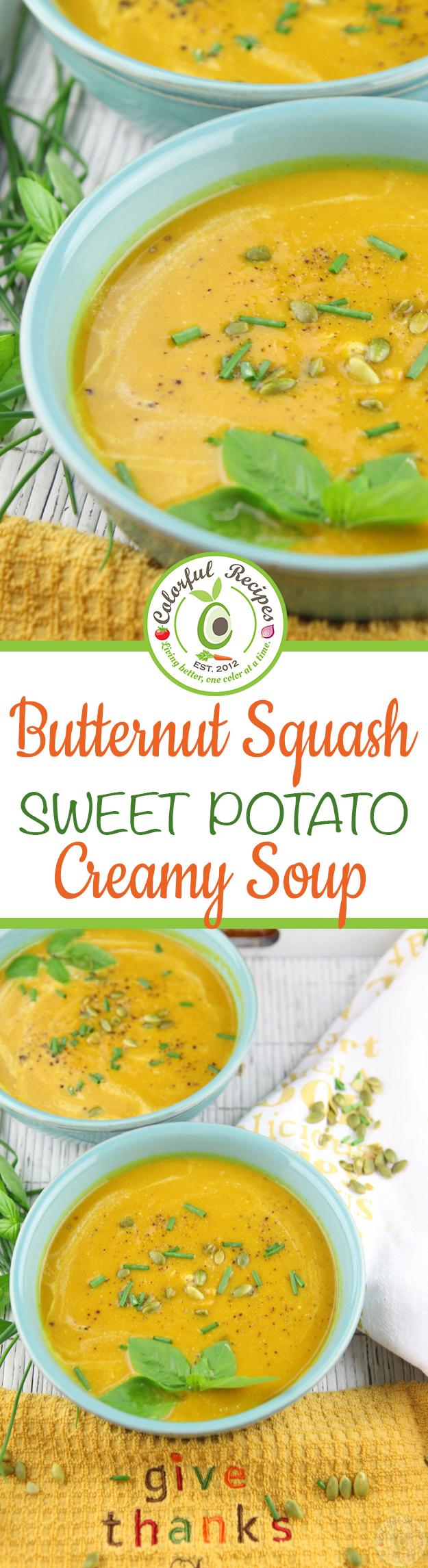 Creamy Butternut Squash Sweet Potato Soup