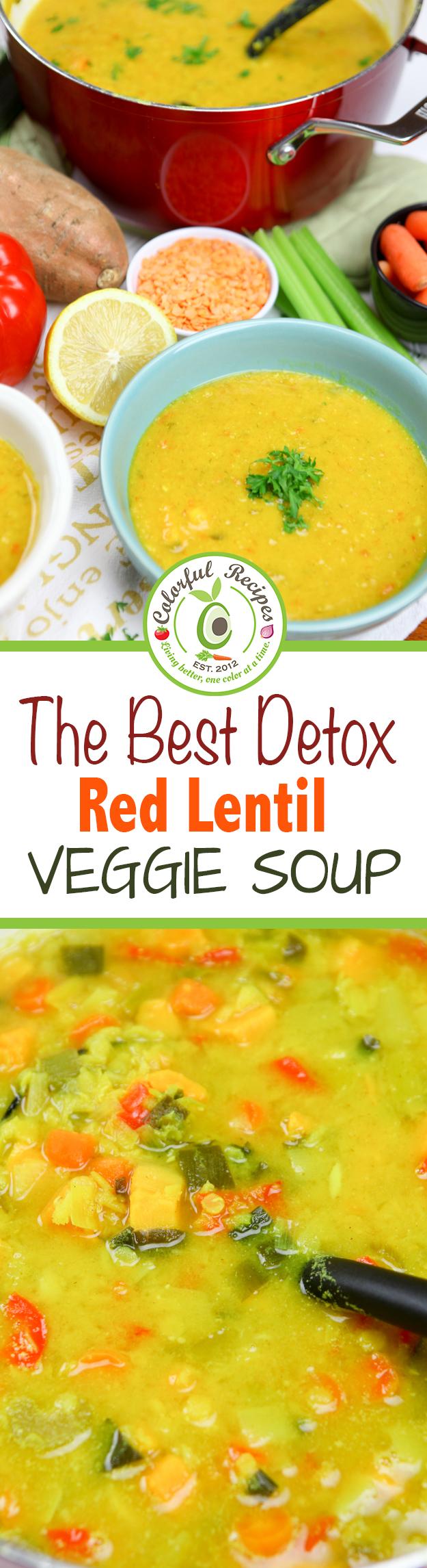 The Best Detox Red Lentil Veggie Soup