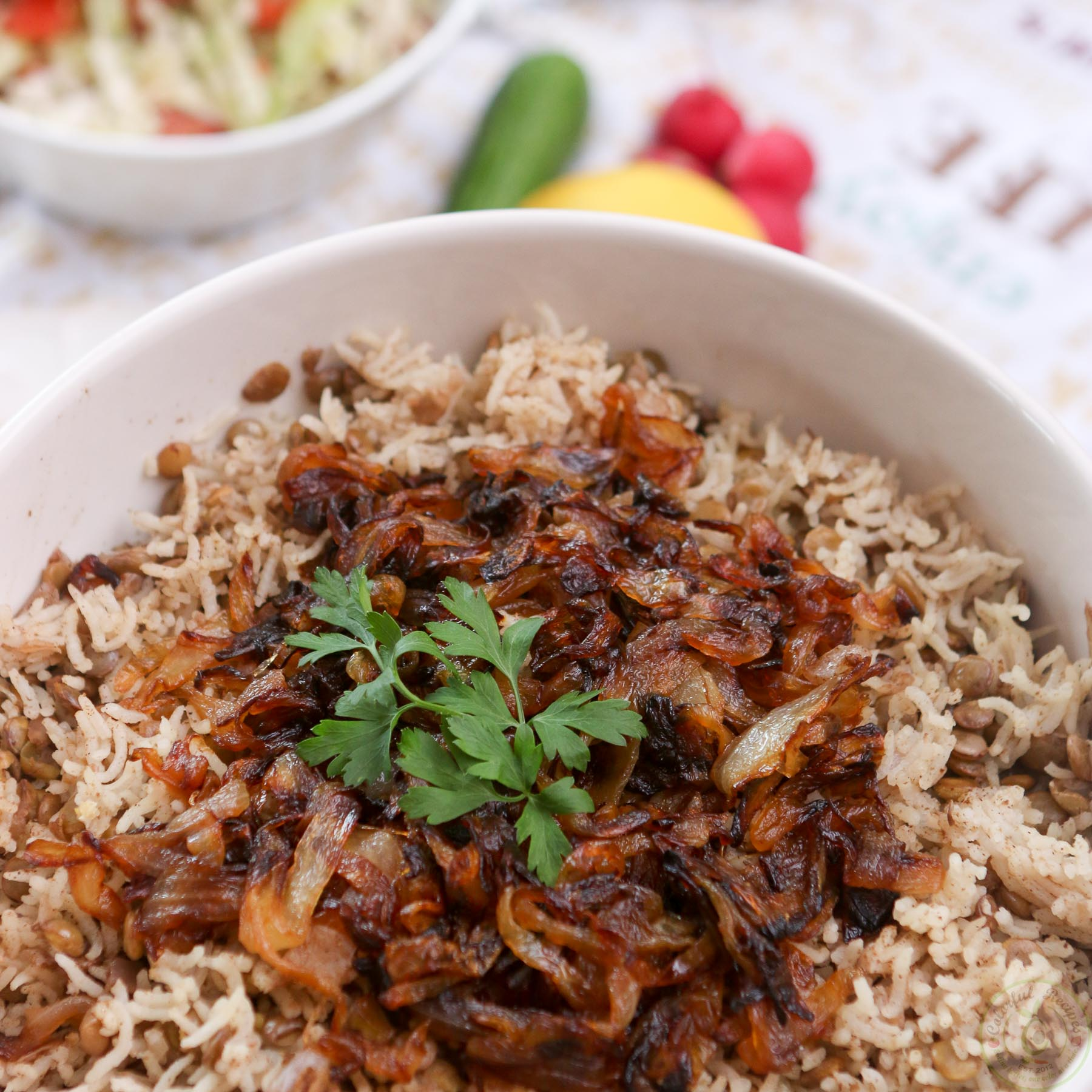 Lebanese Lentil Rice Pilaf (Mdardara) with Cabbage Tomato Salad