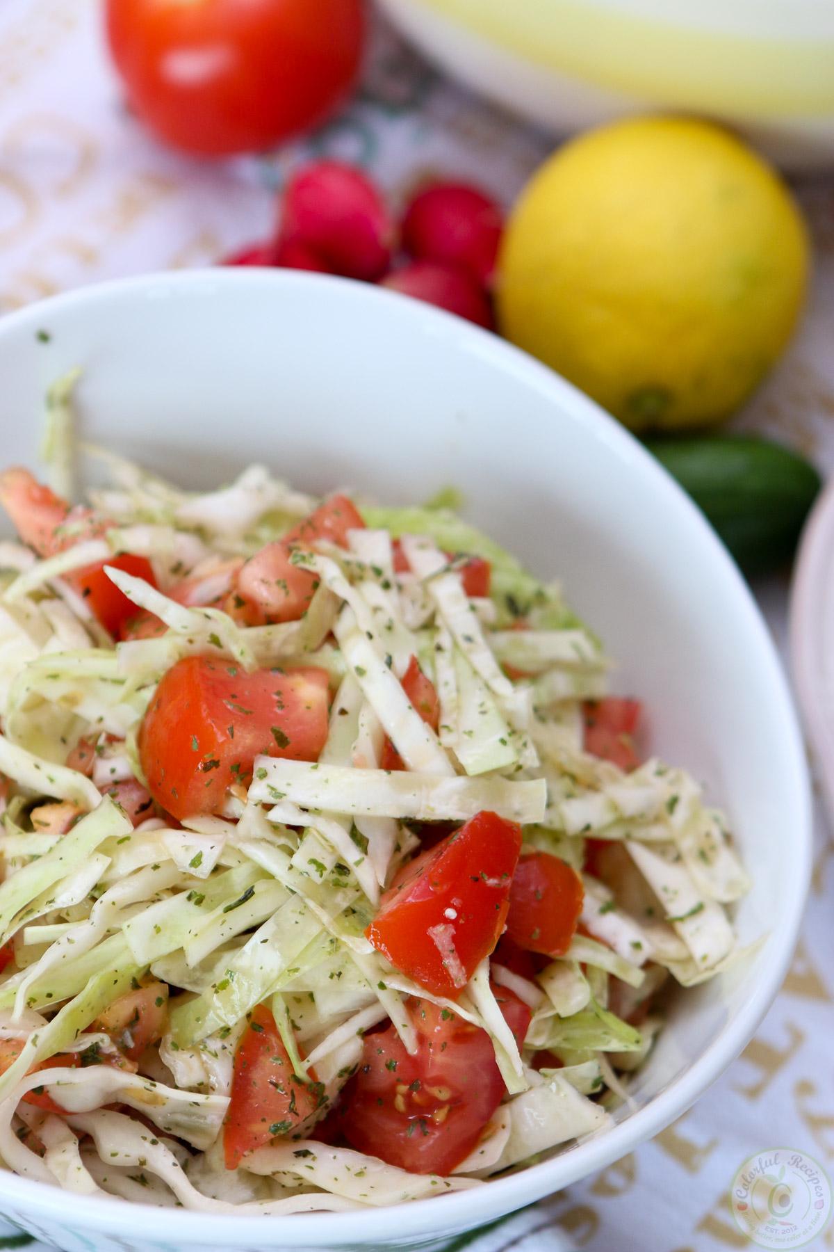 Lebanese Lentil Rice Pilaf (Mdardara) with Cabbage Tomato Salad