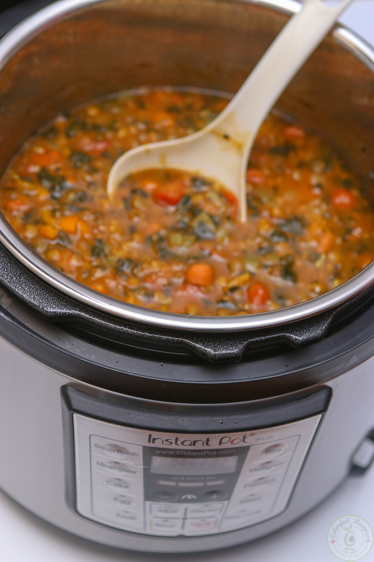 Instant Pot Lentil Spinach Hearty Soup