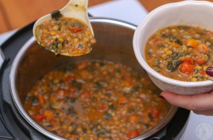 Instant Pot Lentil Spinach Hearty Soup